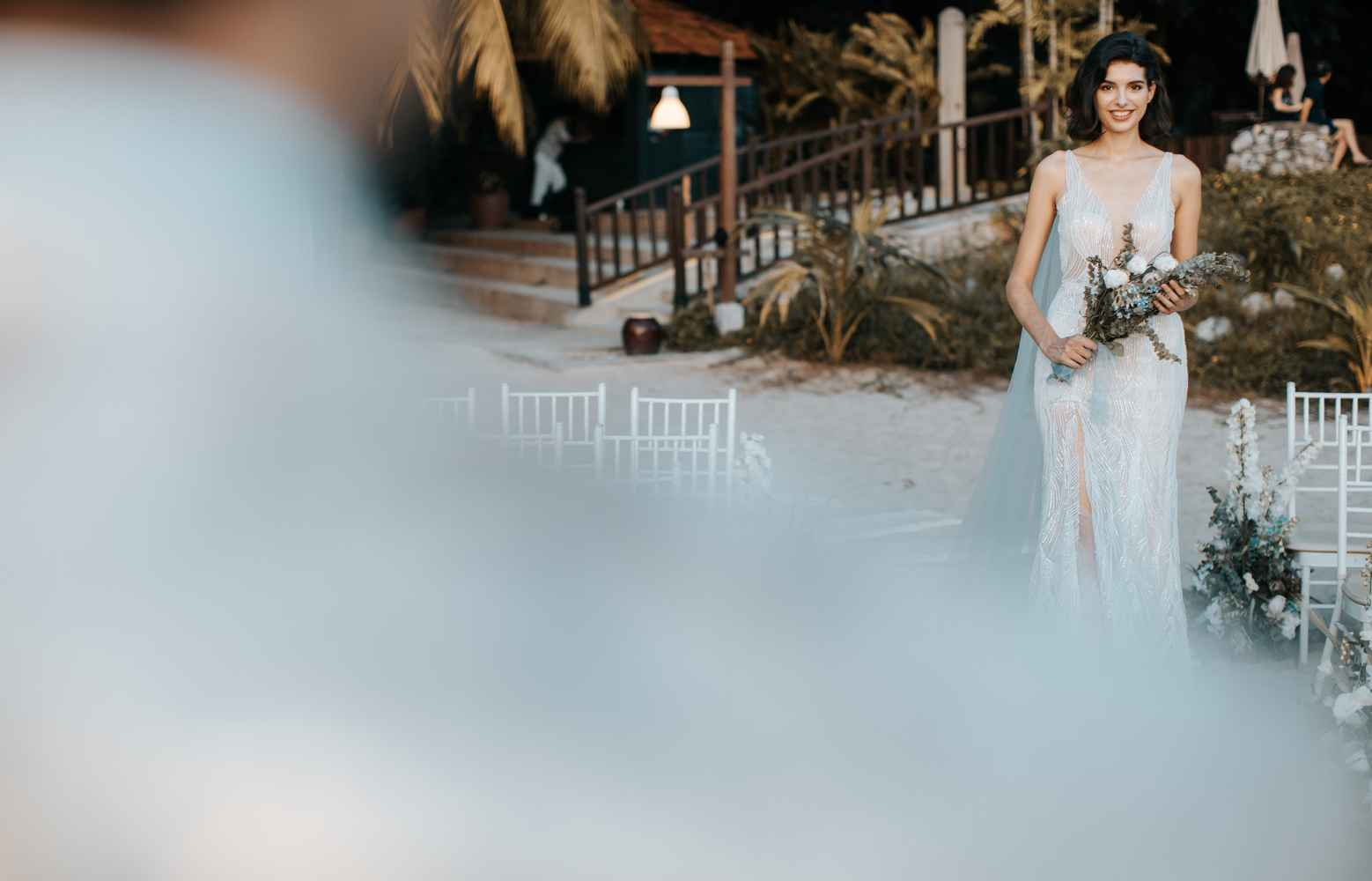 Dusty Hues and Ocean Blues for a Romantic Sunset Beach Wedding